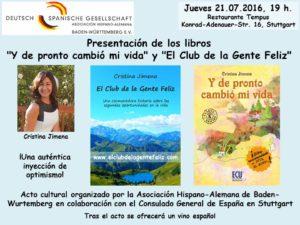 Invitación presentación libros Cristina Jimena 21.07.2016